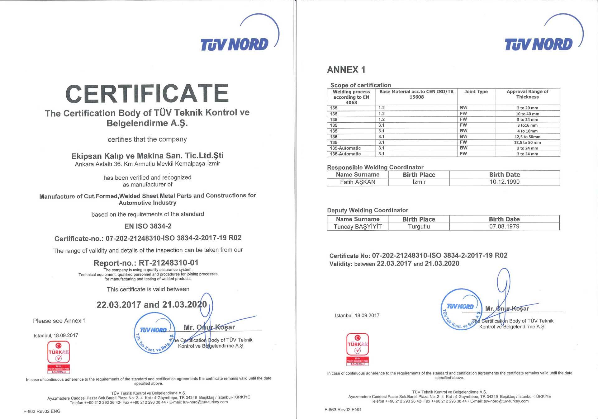 EN ISO 3834 Sertifika